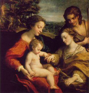 The Mystic Marriage of St. Catherine – Correggio, wood, H105cm W102cm, 1526-1527.