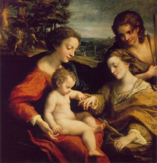 The Mystic Marriage of St. Catherine – Correggio, wood, H105cm W102cm, 1526-1527.