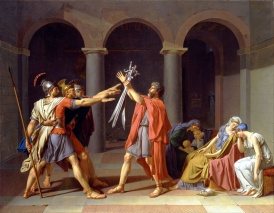 The Oath of the Horatii – Jacques-Louis David, H3.30m W4.25m, 1784.