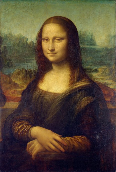 Mona Lisa – Leonardo di ser Piero da Vinci, painted on poplar wood, H0.77m W0.53m. Began in approximately 1503 by da Vinci and acquired by Francois I in 1518.