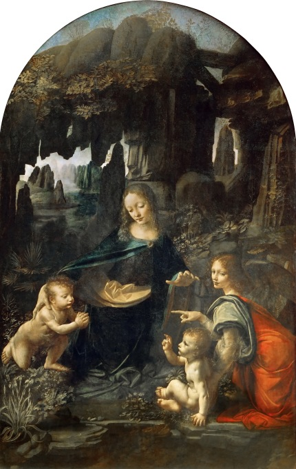 The Virgin of the Rocks - Leonardo di ser Piero da Vinci, oil on poplar wood, H189.5cm W120cm, 1491/2-9, 1506-8