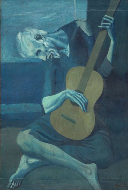 The Old Guitarist – Pablo Picasso, oil on panel, H122.9cm W82.6cm, 1903-1904.